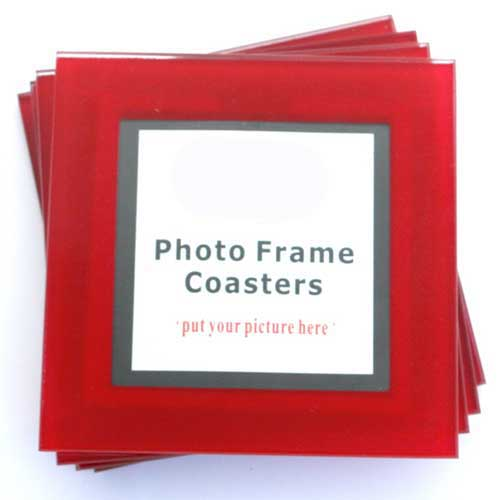 Red Photo Frame Glass Coasters