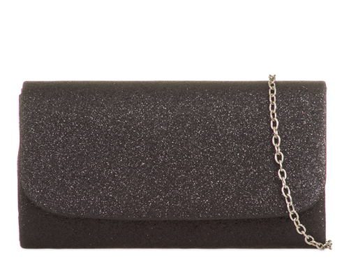 Gabrielle Black Shimmer Evening Clutch Bag