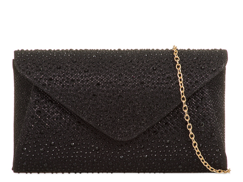 Olivia Beaded Envelope Black Evening Clutch Bag