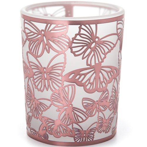 Copper Butterfly Glass Votive Candle Holder