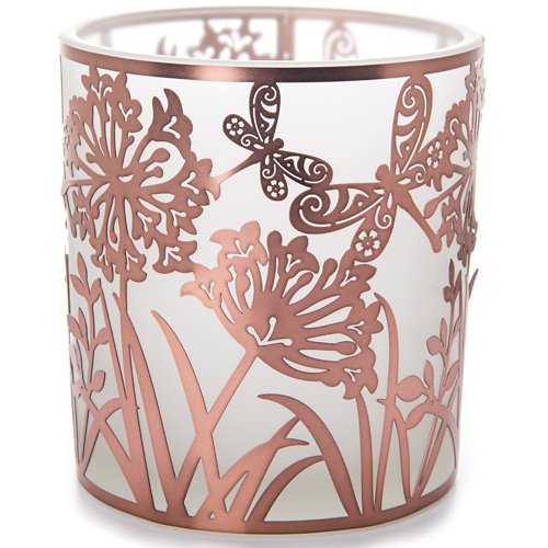 Copper Dragonfly Glass Votive Candle Holder