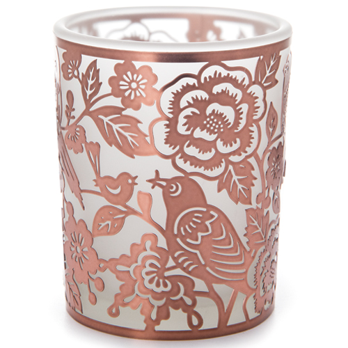 Copper Birds Nesting in Flowers Votive Candle Holder