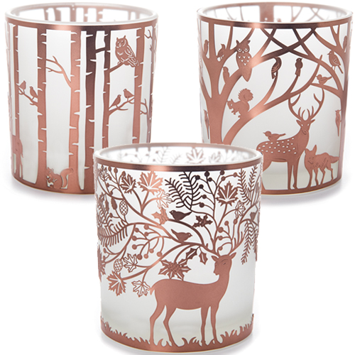 Copper Woodland Tealight Holder Collection - 3 Asst Large