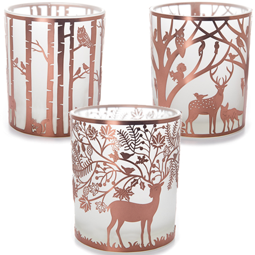 Copper Woodland Tealight Holder Collection - Large