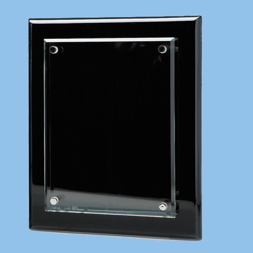 6 Quot X 8 Quot Clear Glass Plaque On Blk Wood Plaque Engraved