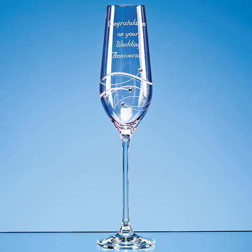 Single pink diamante champagne flute with spiral design - Flute a champagne design ...
